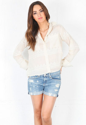 Chelsea Flower Cotton Silk Roll Sleeve Top in White