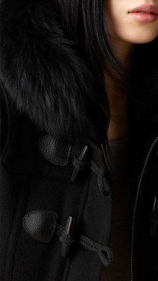 Burberry Fur Trim Fitted Duffle Coat