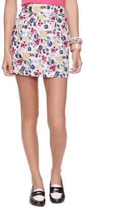 Forever 21 Linen Blend Floral Skirt