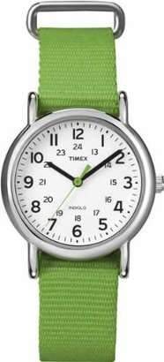 Timex Women's T2N835 Weekender Mid-Size Slip Thru Strap Nylon Green Watch $39.99 thestylecure.com