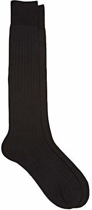 Barneys New York Men's Rib-Knit Silk-Blend Knee Socks - Black