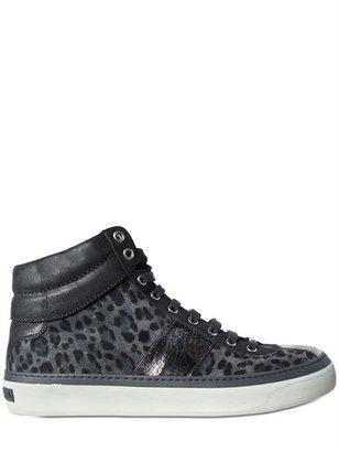 Jimmy Choo Leopard Print Suede Belgravi Sneakers