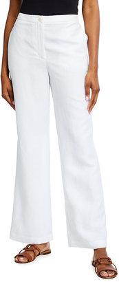 Eileen Fisher Slub Straight-Leg Full Length Pants