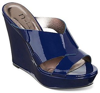 Nicole Miller n by Valerie Patent Wedge Slide Sandals