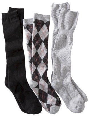 Xhilaration Juniors 3-Pack Knee High Socks - Assorted Colors/Patterns One Size Fits Most