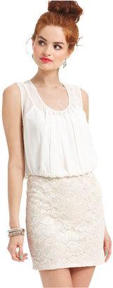 Sequin Hearts Juniors Dress, Sleeveless Blouson Lace