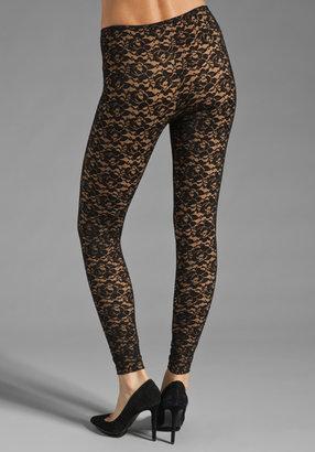 Norma Kamali Lace Leggings in Black/Nude