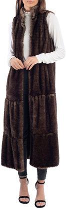 Fabulous Furs Tiered Faux-Mink Long Vest