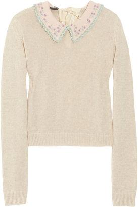 Miu Miu Embroidered open-knit cotton sweater