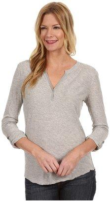 Calvin Klein Jeans Roll Sleeve Top w/Smocking (Light Grey Heather) - Apparel