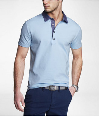 Express Fitted Chambray Collar Signature Polo