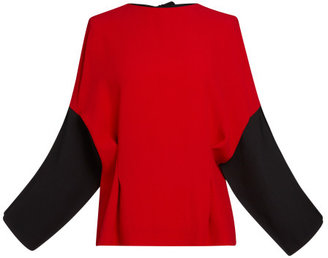 Marni Red Crepe Satin Long Sleeve Blouse