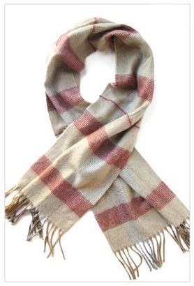 Christian Dior Orville and Frances Scarf in Tan, Red, White and Charcoal Large Plaid