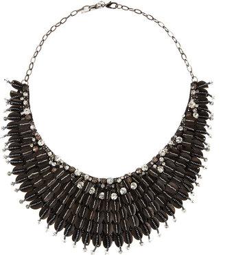 Deepa Gurnani Accordion-Bib Beaded Necklace, Black
