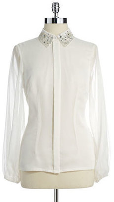 Adrianna Papell Jewel and Sequin Collared Blouse