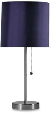 Stylecraft Brushed Steel Table Lamp with Plum Shade