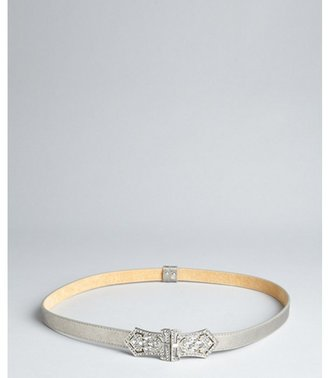 Fashion Focus silver leather jeweled deco buckle belt