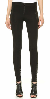 alice + olivia Front Zip Leggings with Leather Panels $330 thestylecure.com