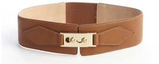 Vince Camuto tan leather and stretch fabric wide belt