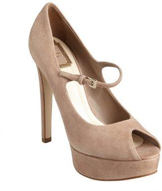 Christian Dior blush suede peep toe 'Miss Dior' platform pumps