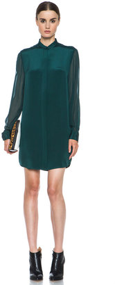 3.1 Phillip Lim Silk Shirt Dress with Fold Back Detail in Dark Forest