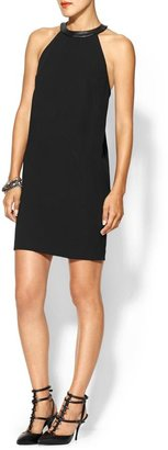 Robert Rodriguez Crepe And V-Leather Draped Dress