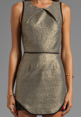 Finders Keepers Eclipse Dress in Gold Shimmer/ Black