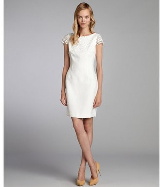 Tahari ASL white floral lace and jacquard cap sleeve dress