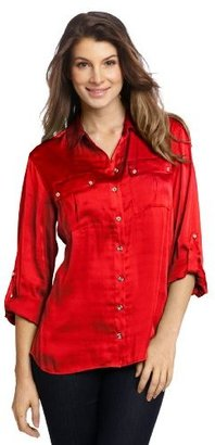 Chaus Women's Roll Tab Button Down Blouse