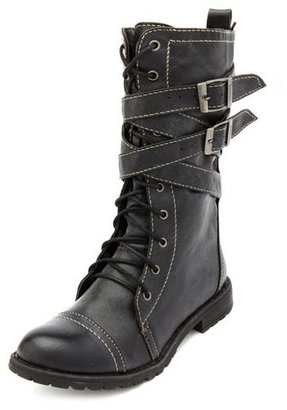 Charlotte Russe Lace-Up Buckle Strap Combat Bootie