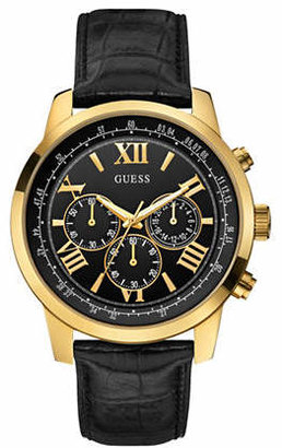 GUESS Chronograph Black 45mm W0380G7 Genuine Leather Watch