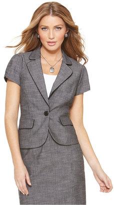 Amy Byer Petite Jacket, Short Sleeve Textured Blazer