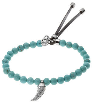 Michael Kors Beaded Pave-Horn Bracelet, Turquoise/Silver Color