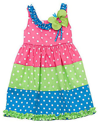 Rare Editions 2T-6X Dotted Colorblocked Dress