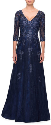 La Femme V-Neck 3/4-Sleeve Tulle Gown with Floral Lace Applique