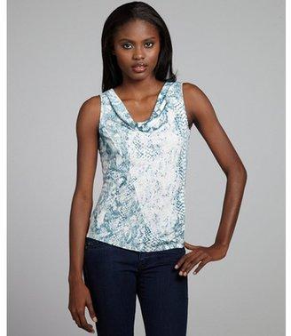 Elie Tahari mint and white snake print linen blend 'Gretchen' blouse