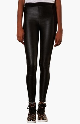 Topshop Faux Leather Front Leggings