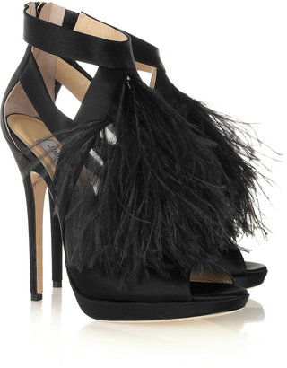 Jimmy Choo Teazer feather-trimmed satin sandals