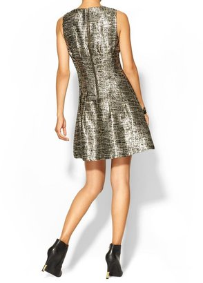 Juicy Couture Skies Are Blue Metallic Tweed Dress