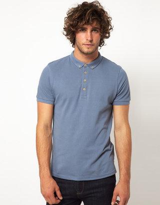 Asos Polo In Pique Jersey With Button Down Collar