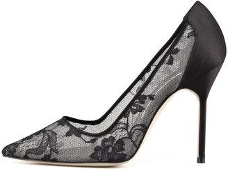 Manolo Blahnik BB Lace Pointed-Toe Pump, Black