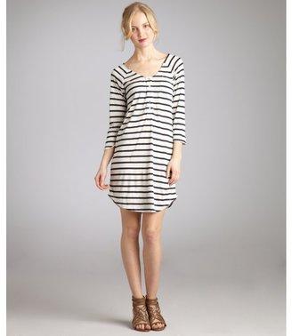 Wyatt ivory and navy striped henley shirt dress