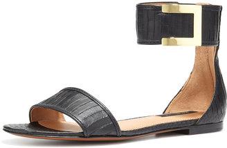 Rachel Zoe Gracie Flat Snakeskin Sandal, Black