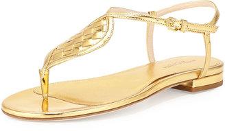 Bottega Veneta Metallic Woven Leather Thong Sandal, Gold