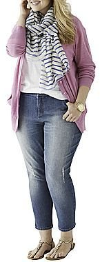 JCPenney a.n.a® Boyfriend Cardigan, Skinny Ankle Jeans or Mixit Scarf