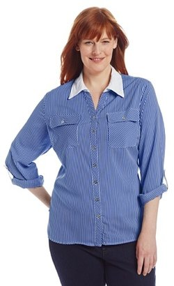 Notations Women's Plus-Size Striped Contrast Collar Roll Tab Utility Shirt