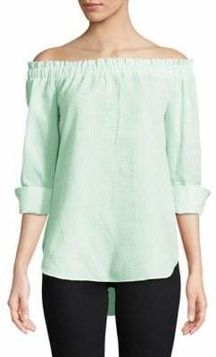 Isaac Mizrahi IMNYC Pinstripe Off-The-Shoulder Tunic