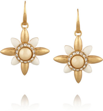 Tory Burch Selma gold-plated, crystal and resin drop earrings