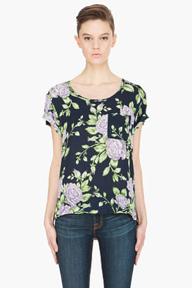 Rag and Bone RAG & BONE navy rose-print silk T-shirt
