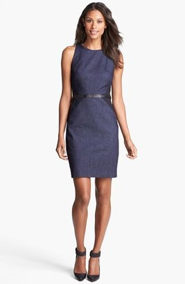 Nicole Miller Leather Trim Denim Sheath Dress